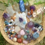 crystals in basket