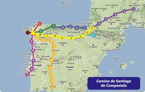 Many routes Camino de Santiago