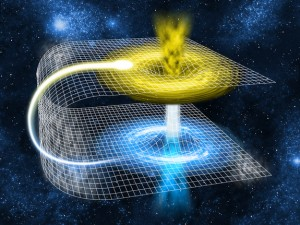 A wormhole connects two different points in space-time