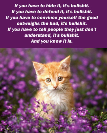 kitten purple flowers text