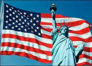 american flag & statue of liberty
