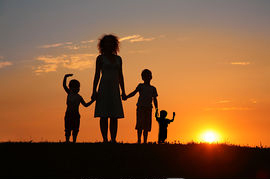 mom and sons silhouette
