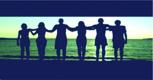 people linked arms blue